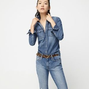 J. Crew Denim Shirt with pearl like buttons